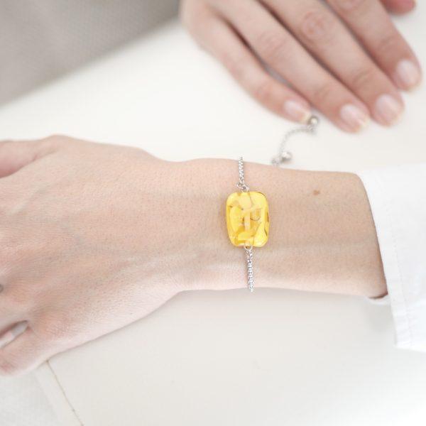 Bracelet perle verre plate Murano jaune