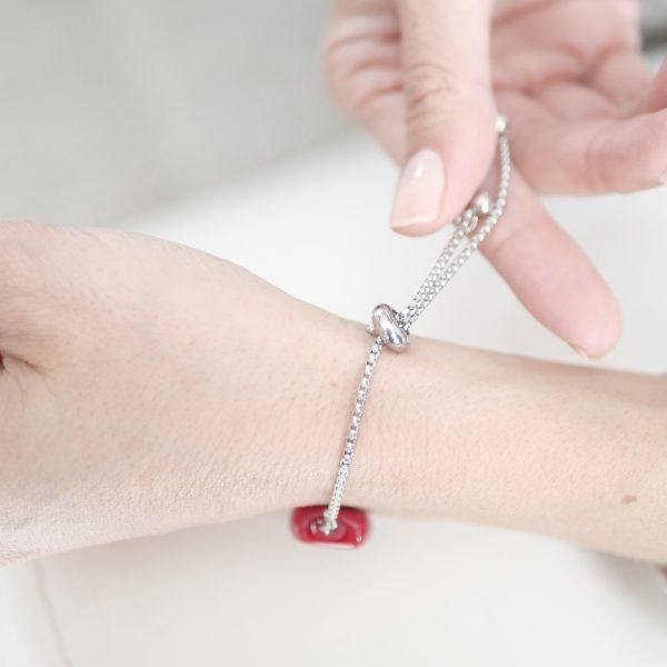 Bracelet perle verre plate Murano rouge