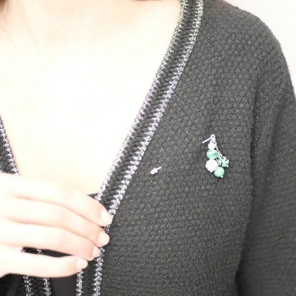 broche perle verre murano vert