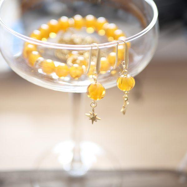 bracelet boucles oreilles perle verre murano ambre