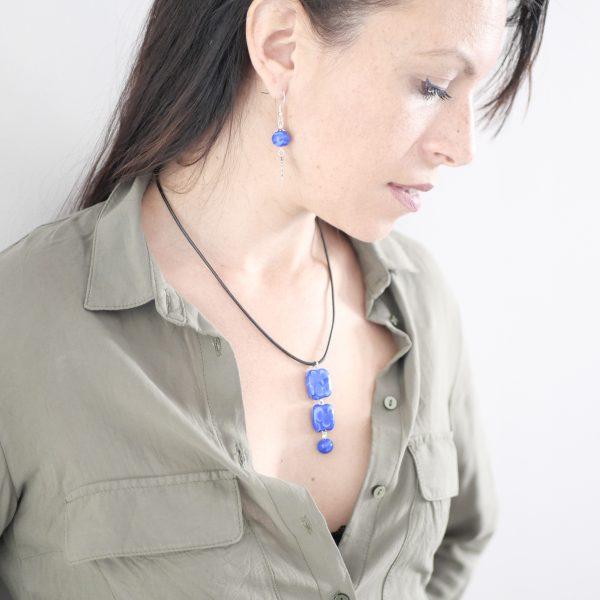 Collier 3 perles verre Murano bleu