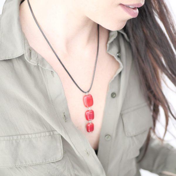 Collier 3 perles verre Murano rouge