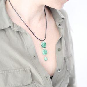 Collier 3 perles verre Murano vert