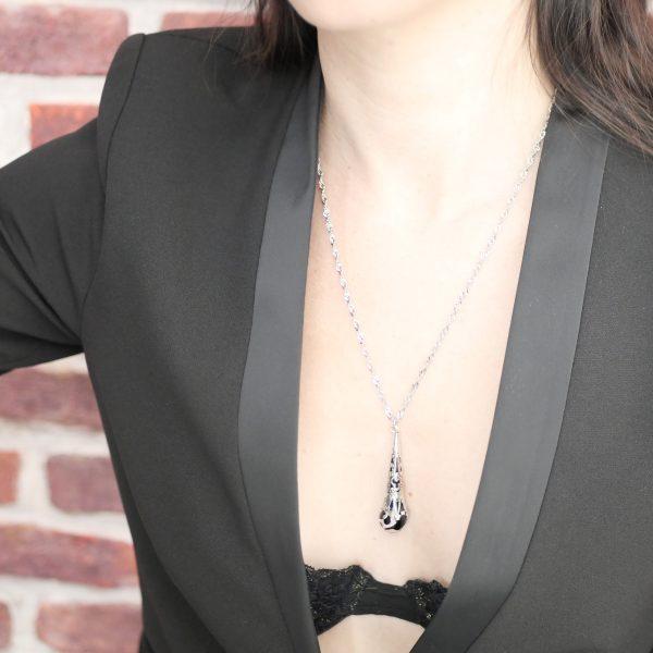 Collier perle goutte noir