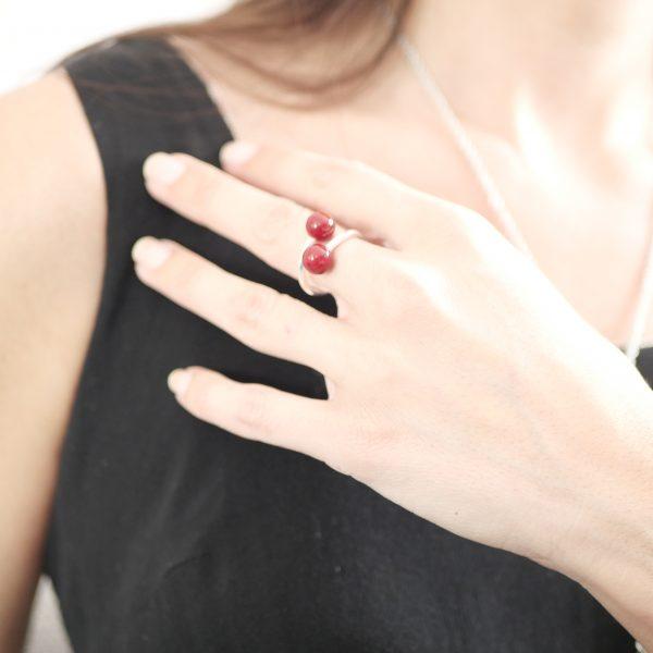 bague perle verre murano rouge