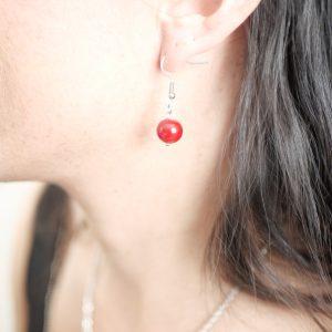 boucle oreilles perle verre murano rouge
