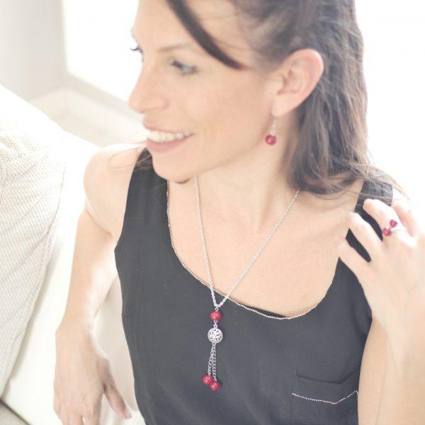collier sautoir perle verre murano rouge