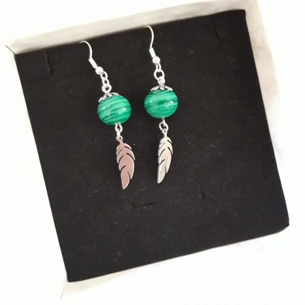 Paire boucles d'oreilles perle verre murano verte