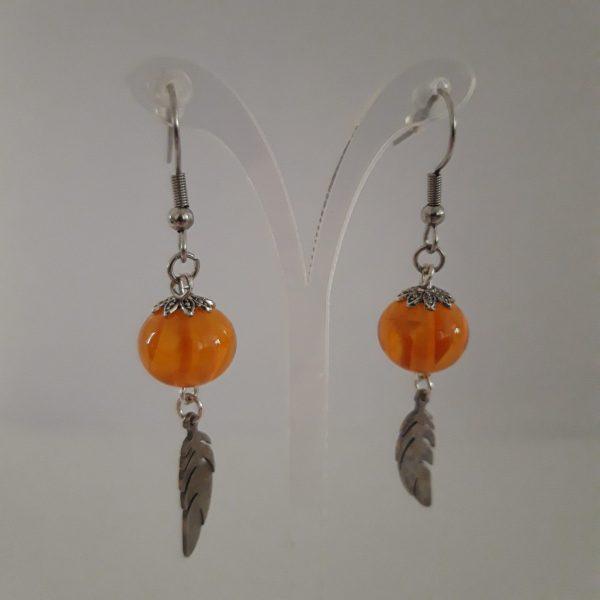 Paire boucles d'oreilles perle verre murano orange