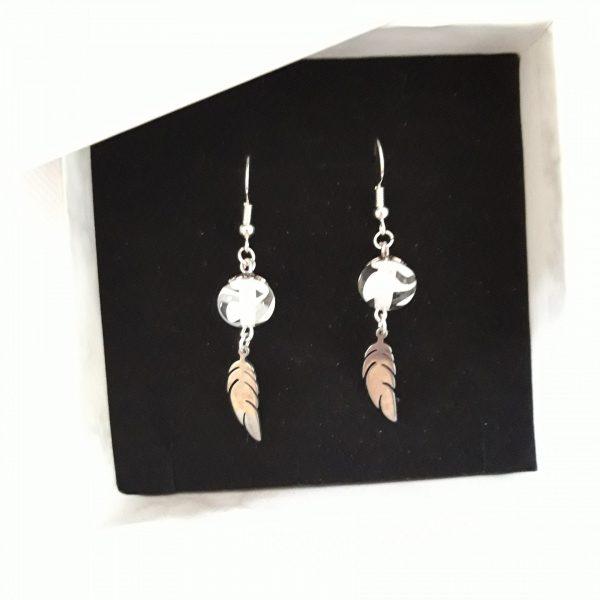 Paire boucles d'oreilles perle verre murano blanc translucide