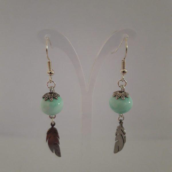 Paire boucles d'oreilles perle verre murano menthe glacier